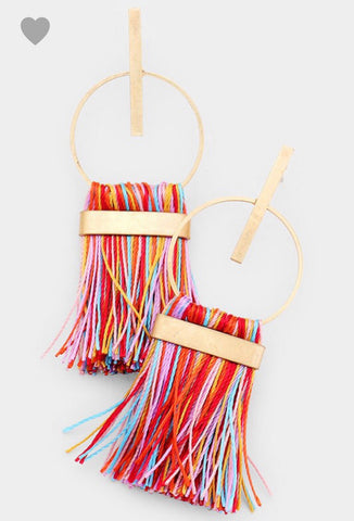 Modern Rainbow Tassel Earrings