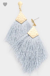 Gray Daze Tassel Earrings