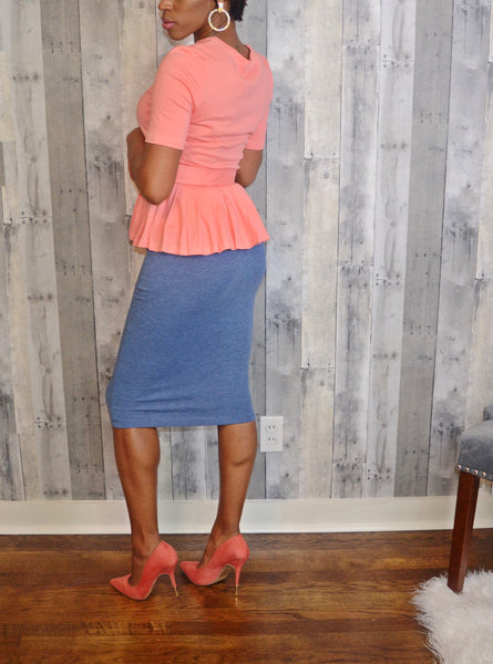 Coral Belted Peplum Top