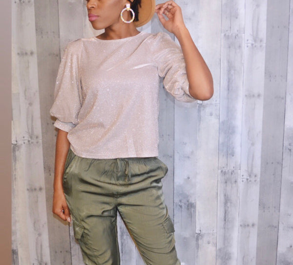 Shimmer Puff Sleeve Crop Top