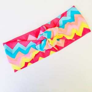 Knotted Headband - Zig Zag Rainbow