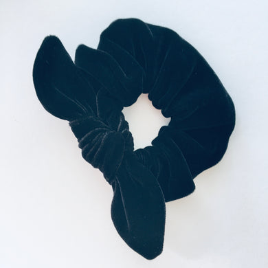 Bowed Scrunchie - Black Velvet