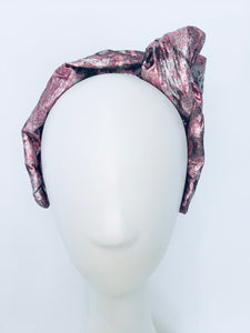 Classic Headband - Pink & Pewter Side Knot