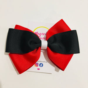 Hair Clip -  Large (red, black & white)