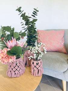 Dusty Pink Macrame Vase/Jar - S