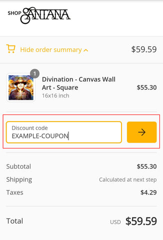 Screen shot of Shop Santana mobile  checkout process showing where to locate coupon code field