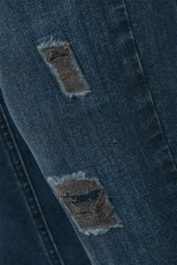 Denim Hunter Blue Skinny Jean with Torn Detail