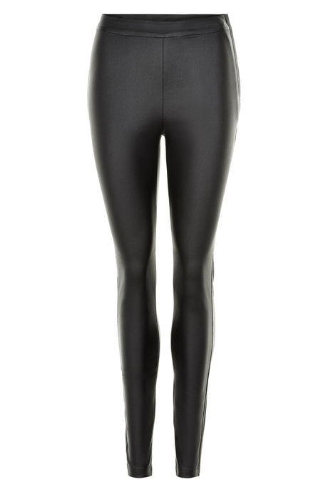 Numph Black Waxy Look Trouser
