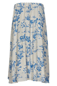 Numph Blue and White Printed Skirt