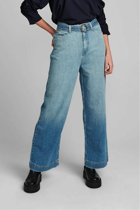 Numph Blue Denim Wide Leg Jean