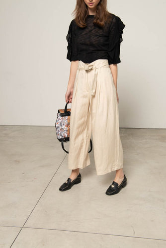 Silvian Heach Linen Mix Cream High Waisted Wide Leg Trouser