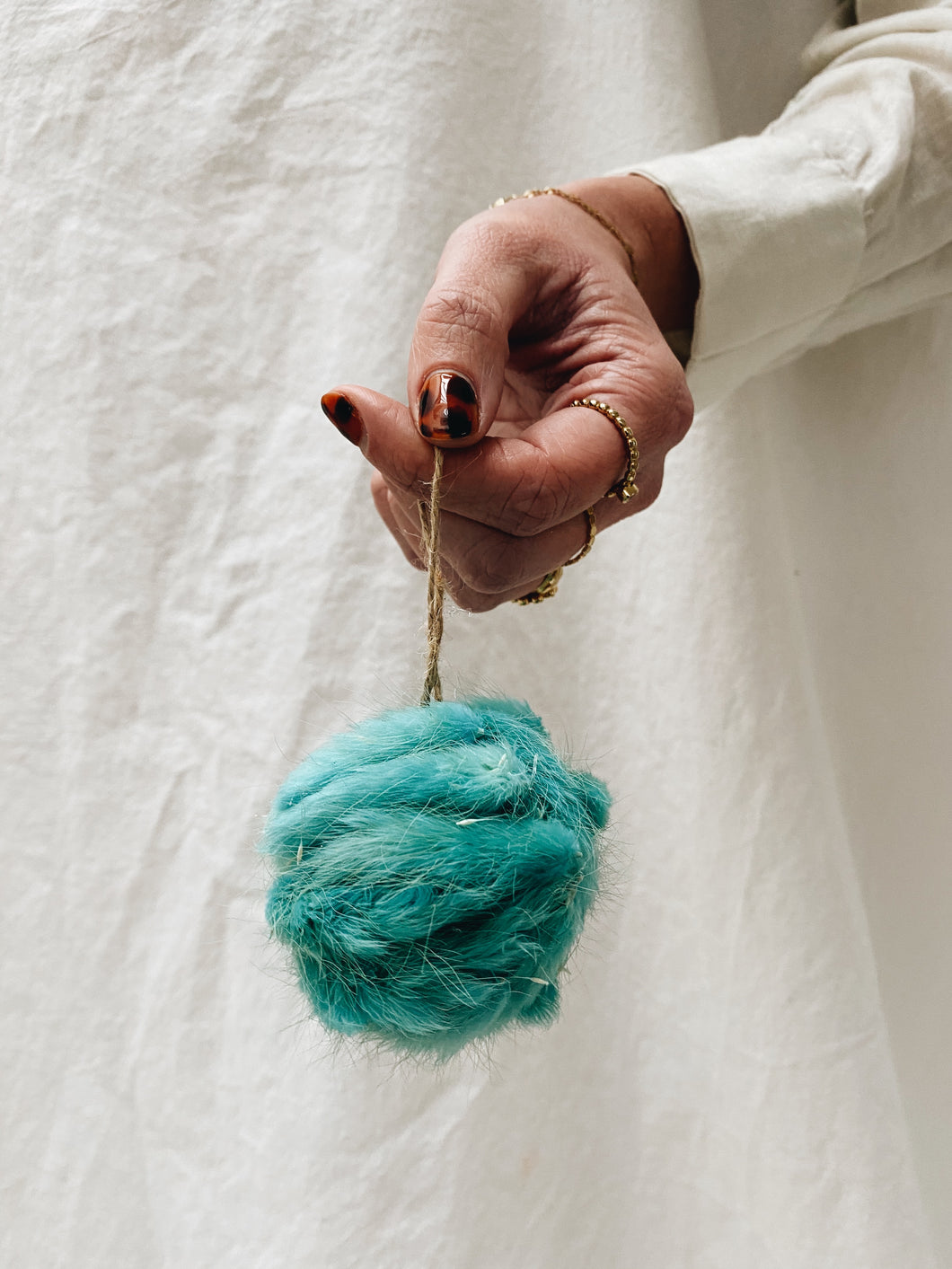 CHRISTMAS BALL FLUFFY TURQUOISE