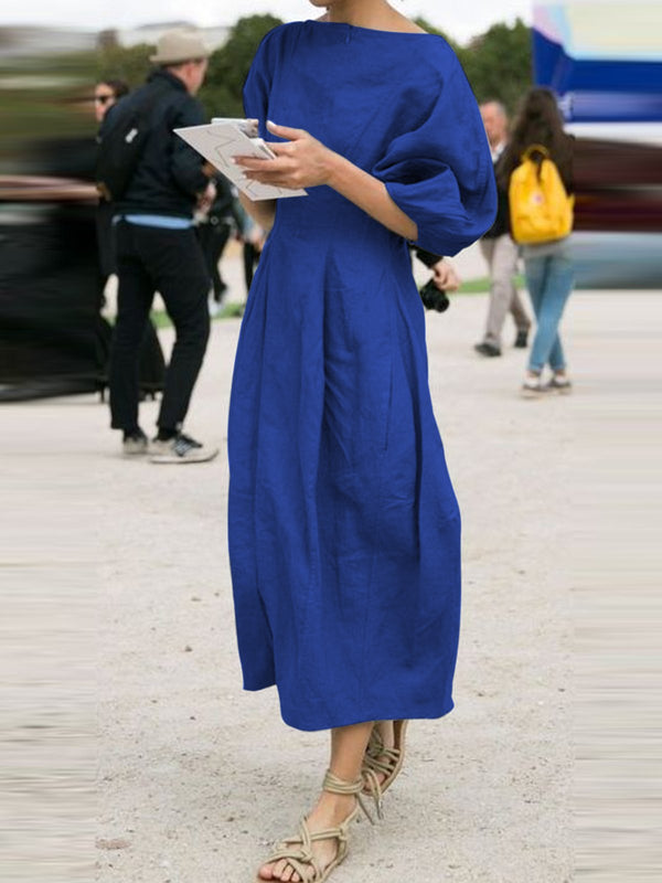 Solid Short Sleeves Elegant Midi Dresses