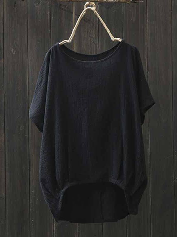Basic Short Sleeve Solid Crew Neck Asymmetric Linen Blouse