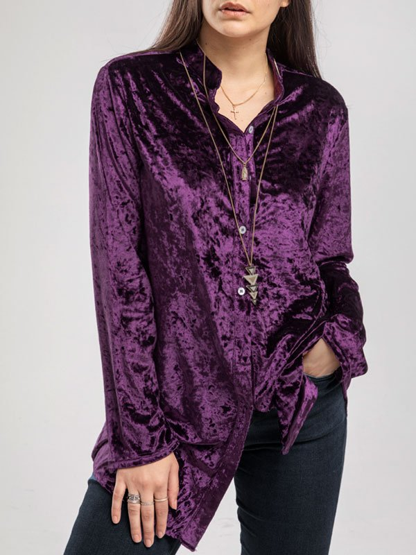 Long Sleeve Purple Solid Vintage Buttoned Velvet Shirts & Tops