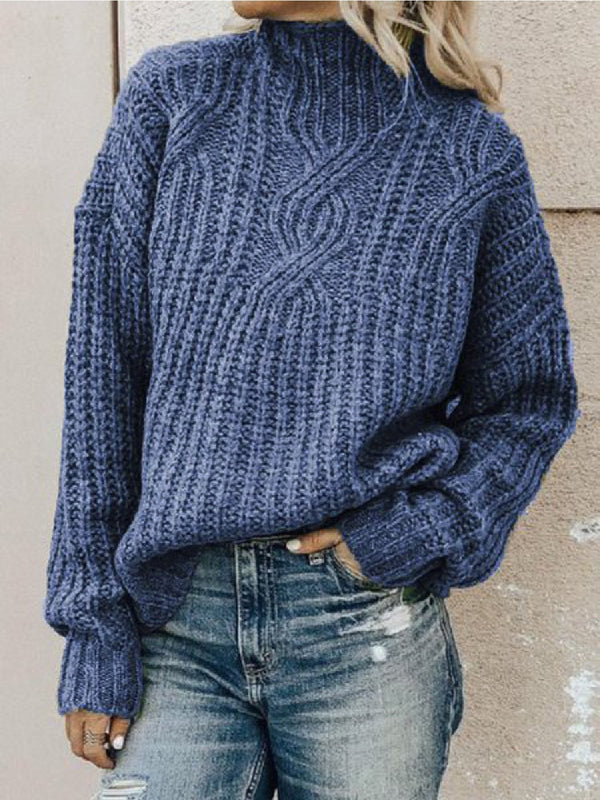 Women Casual Plus Size Turtleneck Sweater Pullover