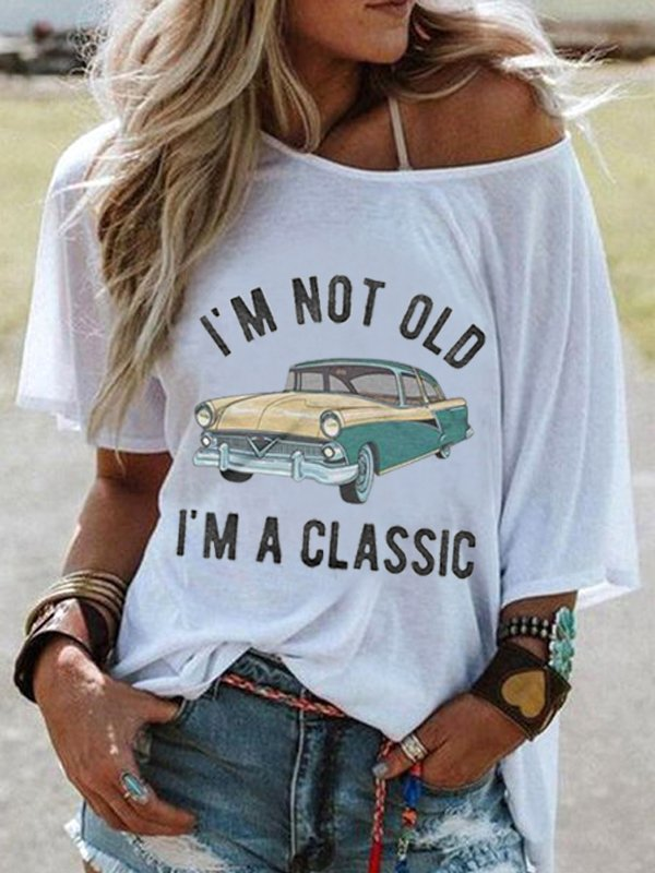 Women Crew Neck Short Sleeve Cartoon Car Print Casual Top