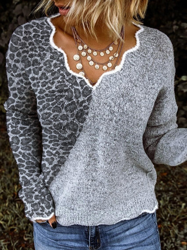 Women Gray Long Sleeve Cotton-Blend Leopard Print Sweater