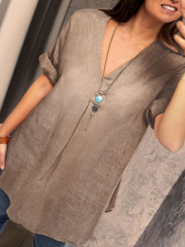 Women V Neck Linen Tunic Top Shirt