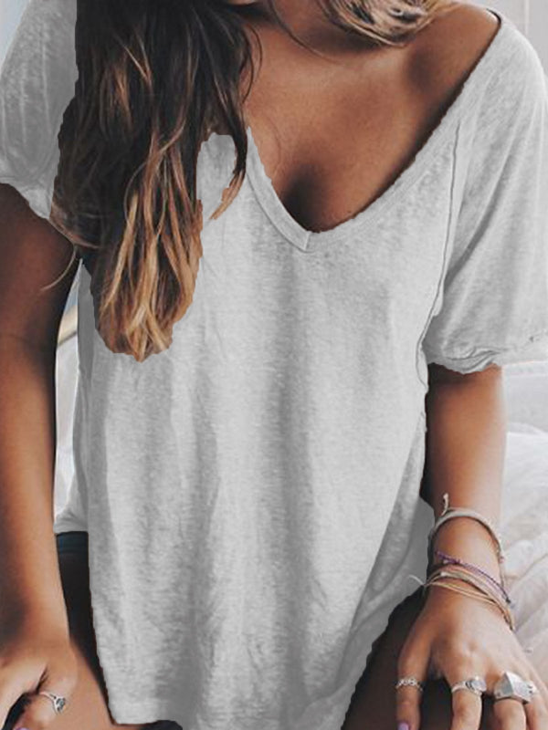 Women Summer V-Neck Short-Sleeve Loose T Shirt Tops