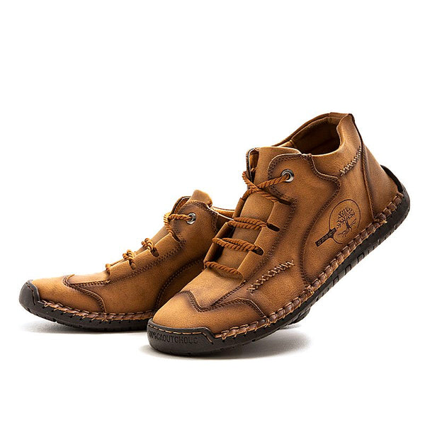 Men Large Size Vintage Hand Stitching Comfort Soft Leather Boots
