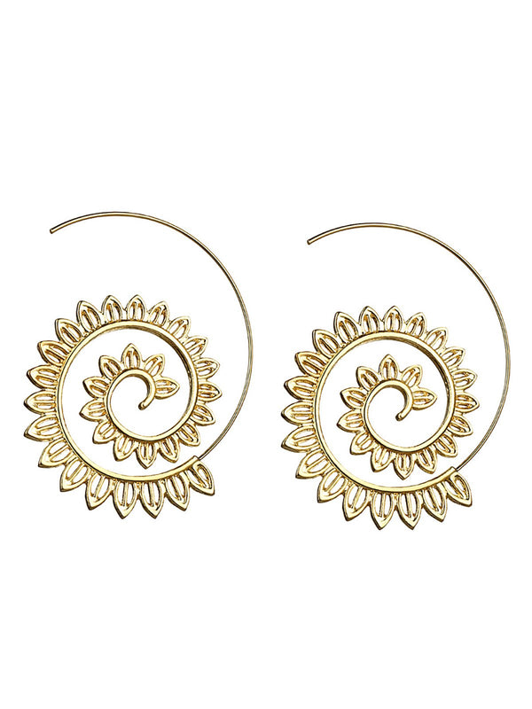 Women Earrings Exaggerated Spiral Alloy Round Accessories