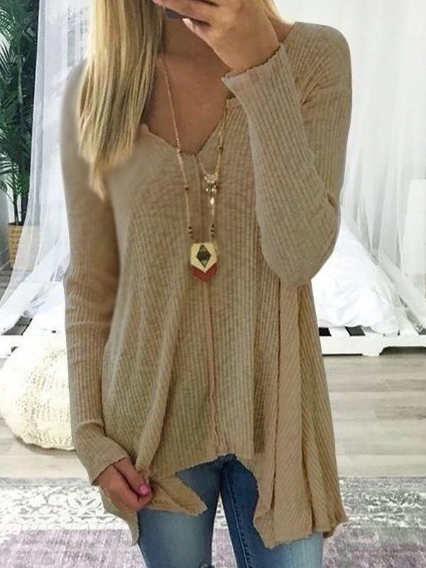 Women V neck Cotton Solid Casual Long Sleeve Irregular Sweater