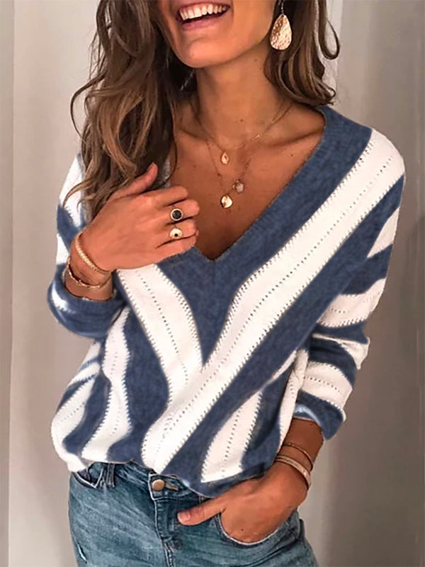 Women Plus Size Long Sleeve V Neck Geometric Casual Sweater
