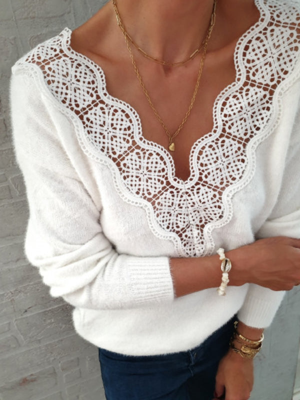 Women Sweater Casual Shift Floral Guipure Lace Tops