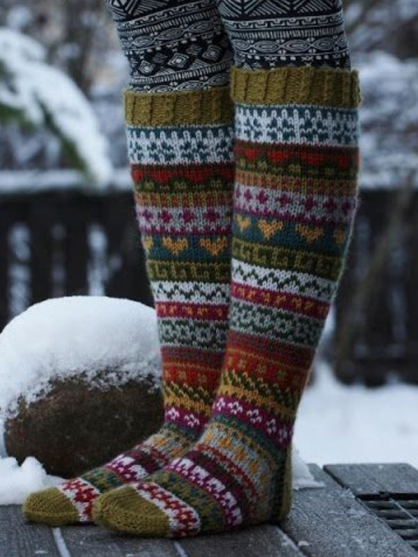 Multicolor Socks Casual Knitted Floral Unisex Accessories