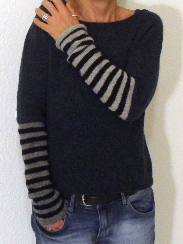 Women Sweater Casual Shift Solid Round Neck Stripe Tops