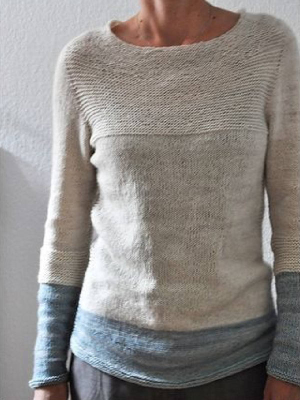Women Sweater Hit Color Long Sleeve Round Neck Casual Tops