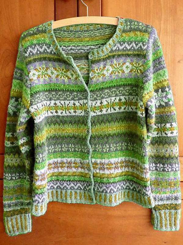 Women Multicolor Knitted Tribal Buttoned Long Sleeve Outerwear