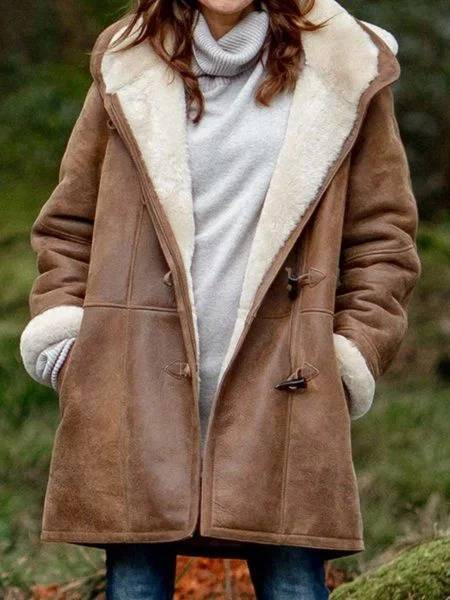 Women Outerwear Cotton-Blend Hoodie Brushed Casual Coat