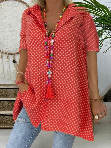 Casual Short Sleeve Shirt Collar Polka Dots T-shirt