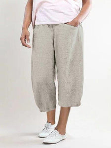 Pockets Shift Casual Capri Pants