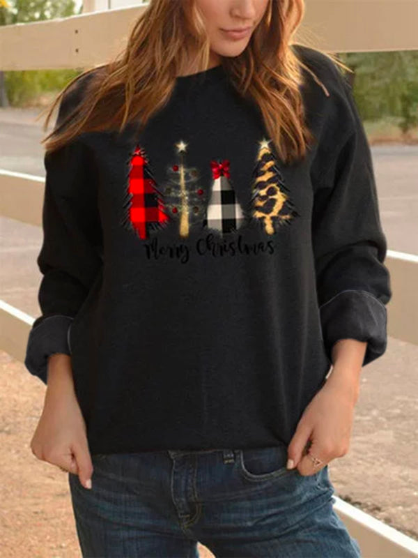 Women Shirts Christmas Casual Crew Neck Shift Cashmere Tops