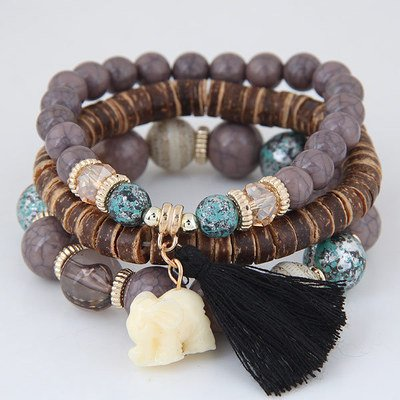 Women Bracelets Alloy Vintage Boho Beads Tassel Accessories