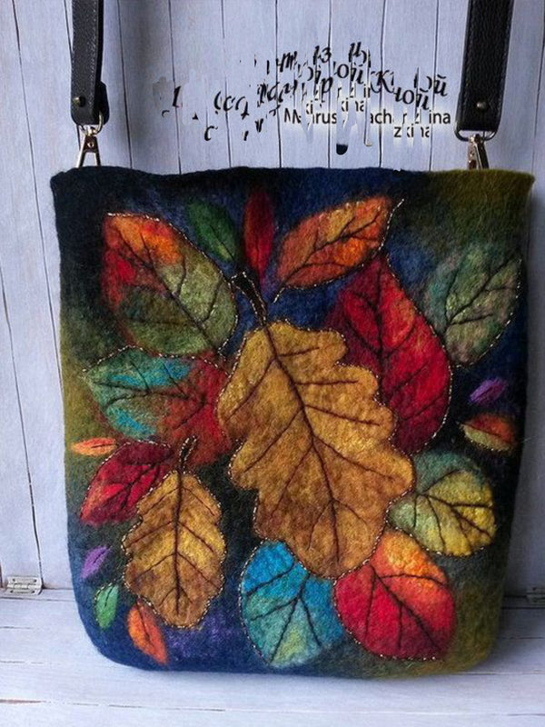 Women Cotton Vintage Bags Leaves Abstract Pattern