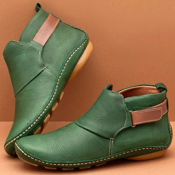 Women Casual Round Toe Flat Comfy Daily Adjustable Soft Leather Booties