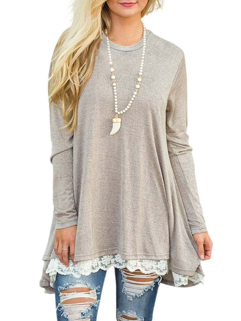 Lace Paneled Long Sleeve Crew Neck Casual T-Shirt