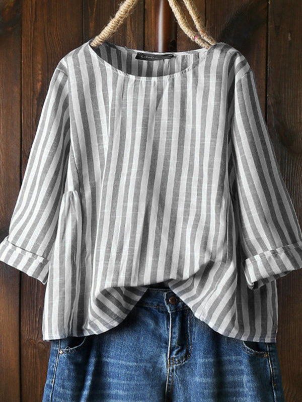 Casual Cotton-Blend Round Neck Shirts & Tops
