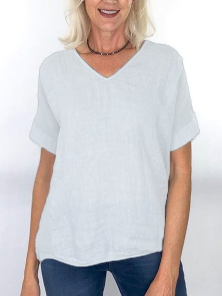 Women Round Sleeve Top V-neck T-shirt Linen