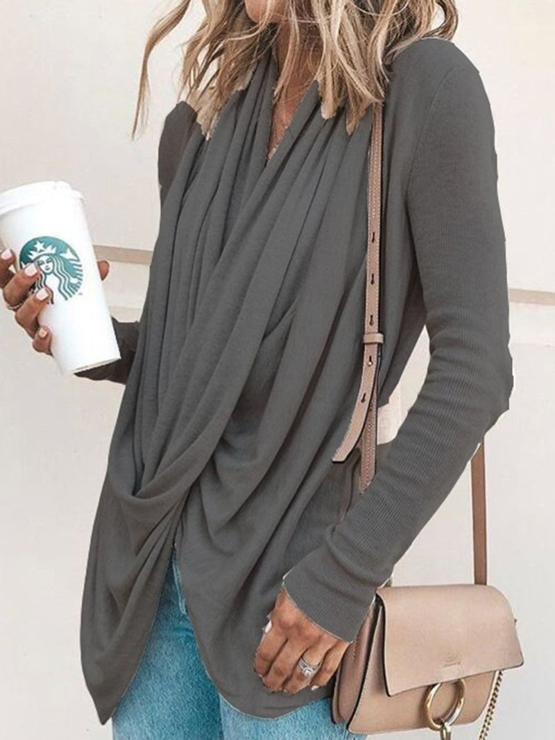 Women Spring/Fall Cowl Neck Asymmetrical Solid Casual T-Shirts