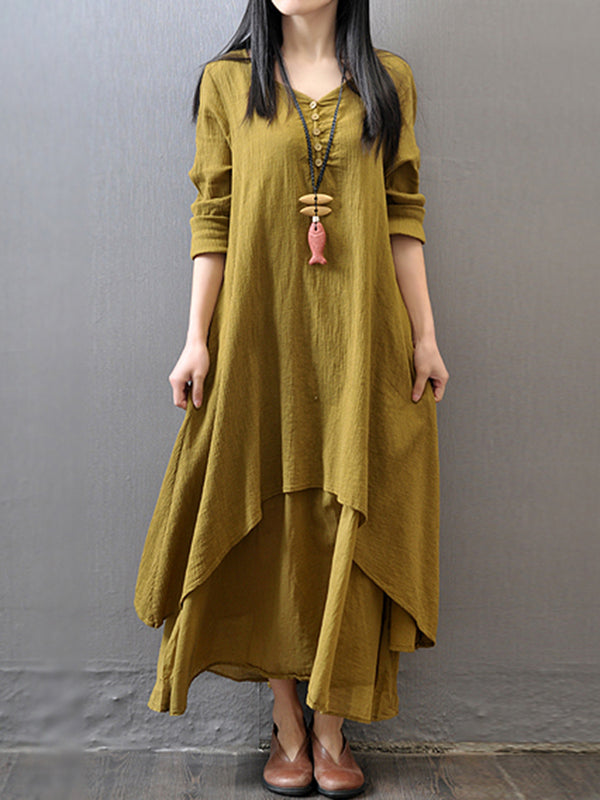 Plus Size V neck Women  Long Sleeve Casual Linen Tiered Solid Dress
