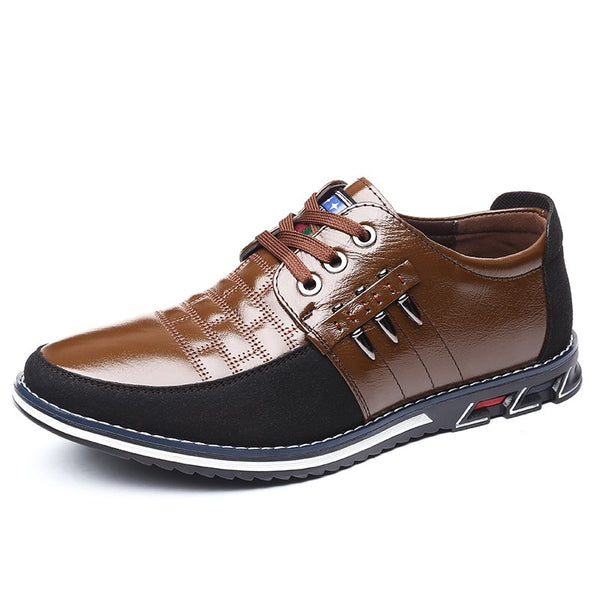 Men Genuine Leather Stitching Slip On Metal Decoration Casual Shoes