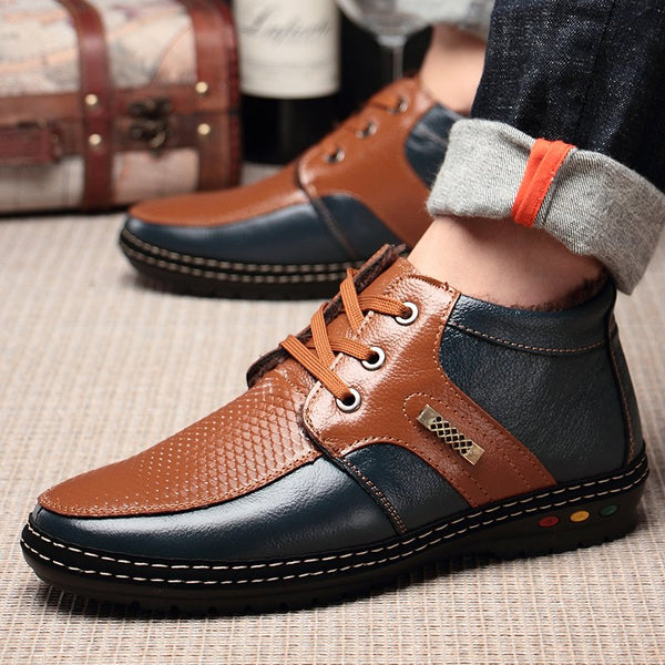 Men Color Blocking Leather Plush Lining Leather Casual Boots