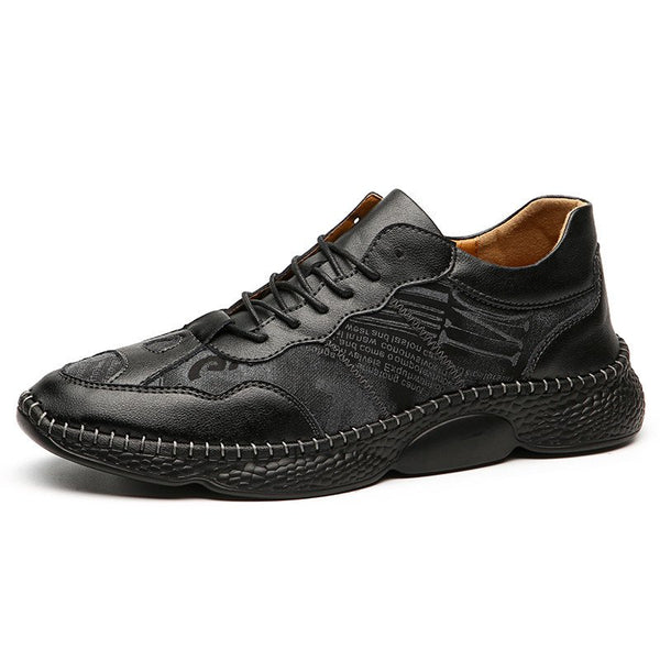 Men Large Size Leather Split Joint Casual Shoes