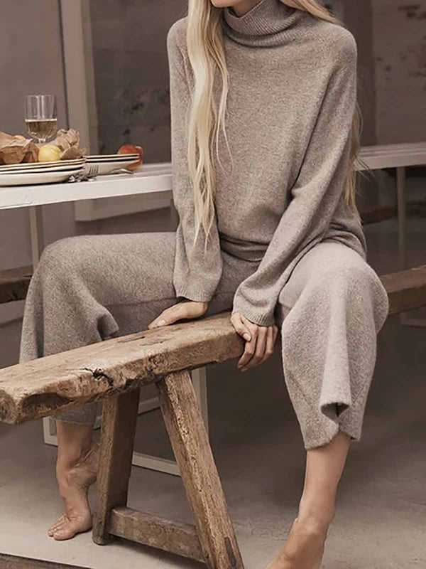 Turtleneck Long Sleeve Knitted Two Pieces Sets Suits