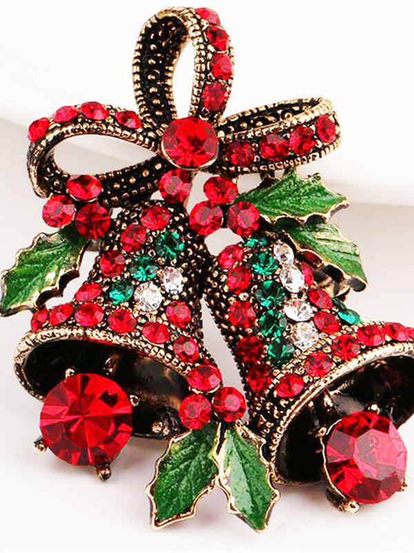 Vintage Alloy Brooch Rhinestone Tinkle Bell Christmas Bow Decoration